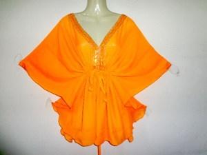 Orange Neck Sequin Womens Kimono Sleeve Kaftan Tops Dress
