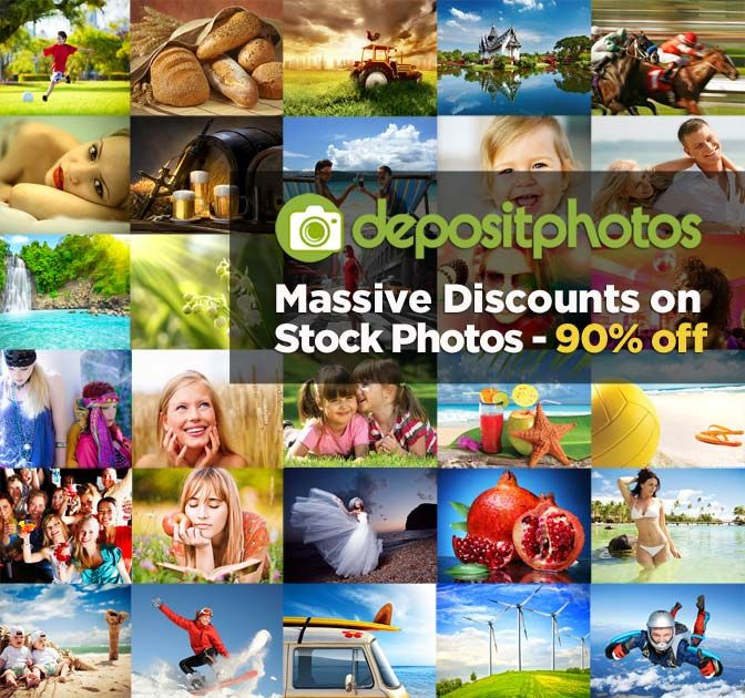 90% Off on stock Photos on Depositphotos http://bit.ly/1pIXnNN  Depositphotos offers one of the largest stock photo libraries on the Web, and you can nab either 25, 100 or 200 images of your choice for up to 92% off the regular price! What makes this deal so spectacular is that besides a ginormous library to browse, you can select ANY SIZE photo you want, including the much sought-after and generally pricey XXL and XXXL size