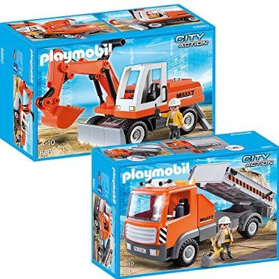 PLAYMOBIL® City Action Chantier Set en 2 parties 6860 6861 pelle avec soc + camion de Chantier