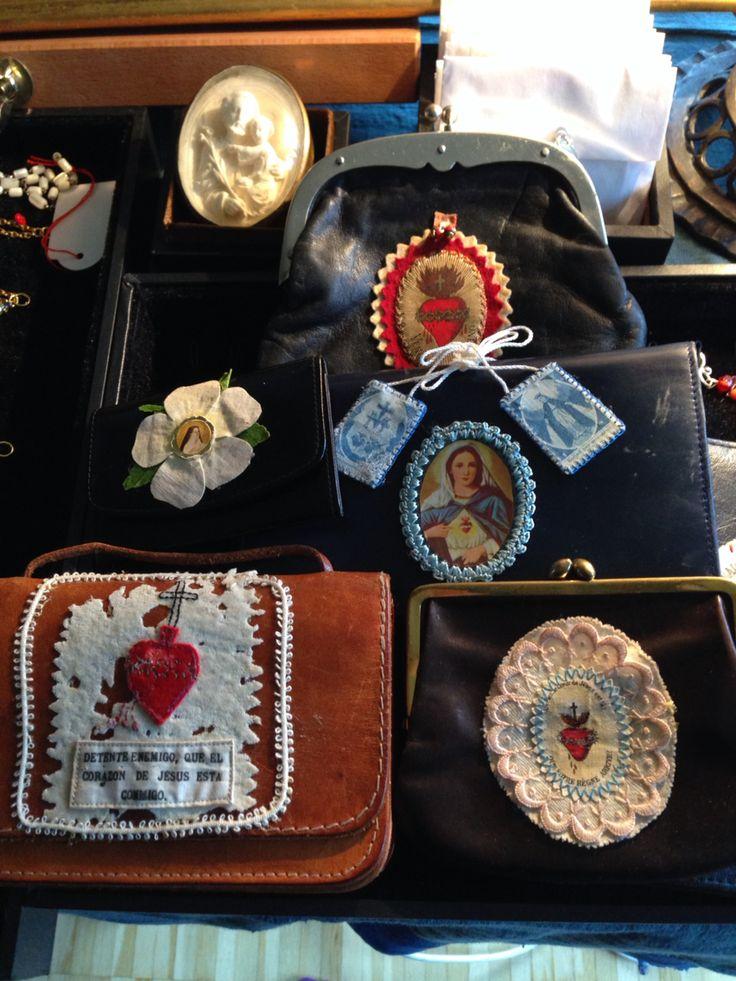 Vintage coin purses & wallets with antique escapularios