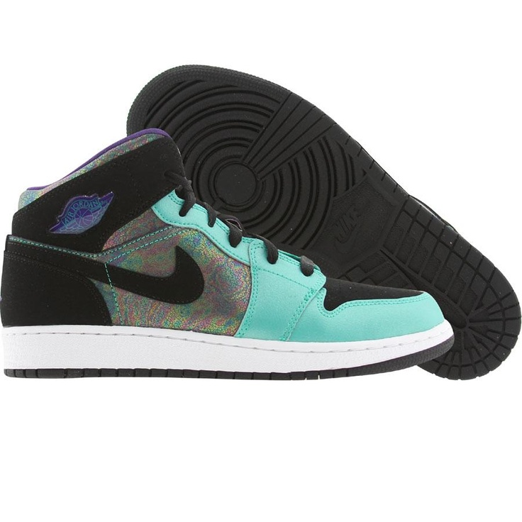 Air Jordan 1 Retro Mid (atomic teal / black / ultra violet / white) 555112-309 - $79.99