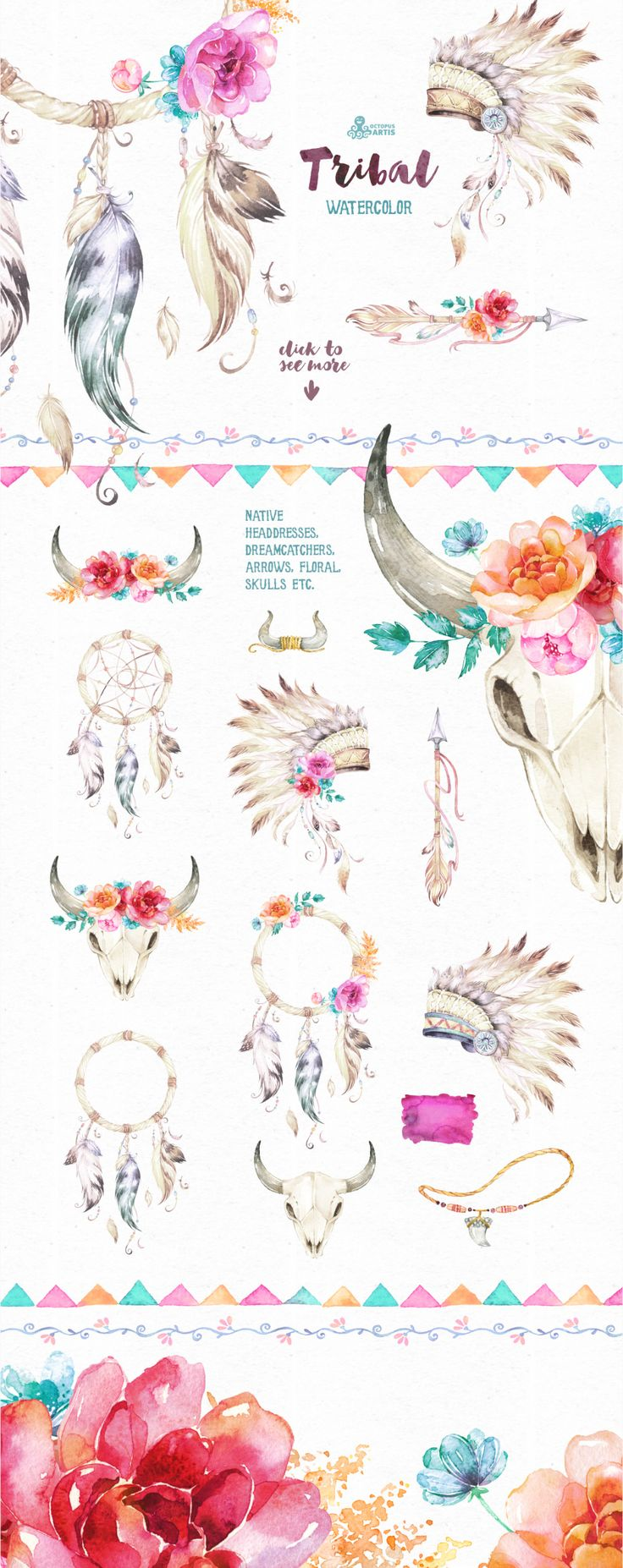 Tribal. Watercolor collection by OctopusArtis on @creativemarket