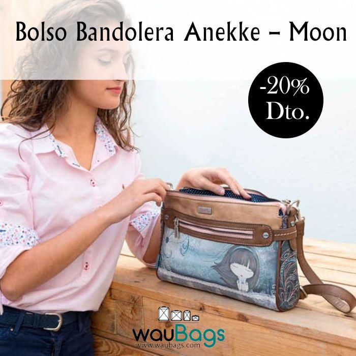 """Bolso Bandolera Anekke """"Moon"""", con compartimento principal con cremallera, varios bolsillos interiores y 2 bolsillos exteriores, uno en la parte delantera y otro en la parte trasera, ambos con cierre de cremallera.  Con correa regulable para llevar el bolso colgado al hombro o bien en bandolera.  #anekke #bolso #bandolera #complementos #oferta #descuento #waubags"""