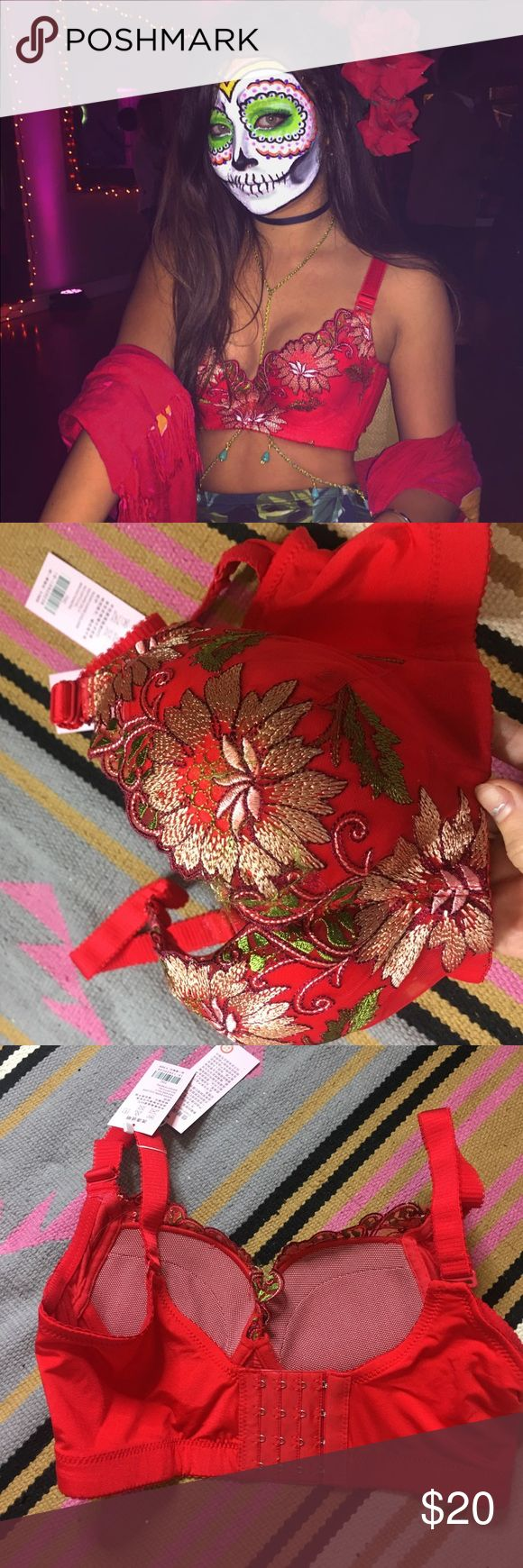 Festival Bralette Top Gorgeous red bra like top- perfect for festivals. I would recommend sizing anywhere from 30-32 A or B cup! Push up pads inside. Perfect condition, never worn. Not free people just listed for exposure. Urban Outfitters Tops