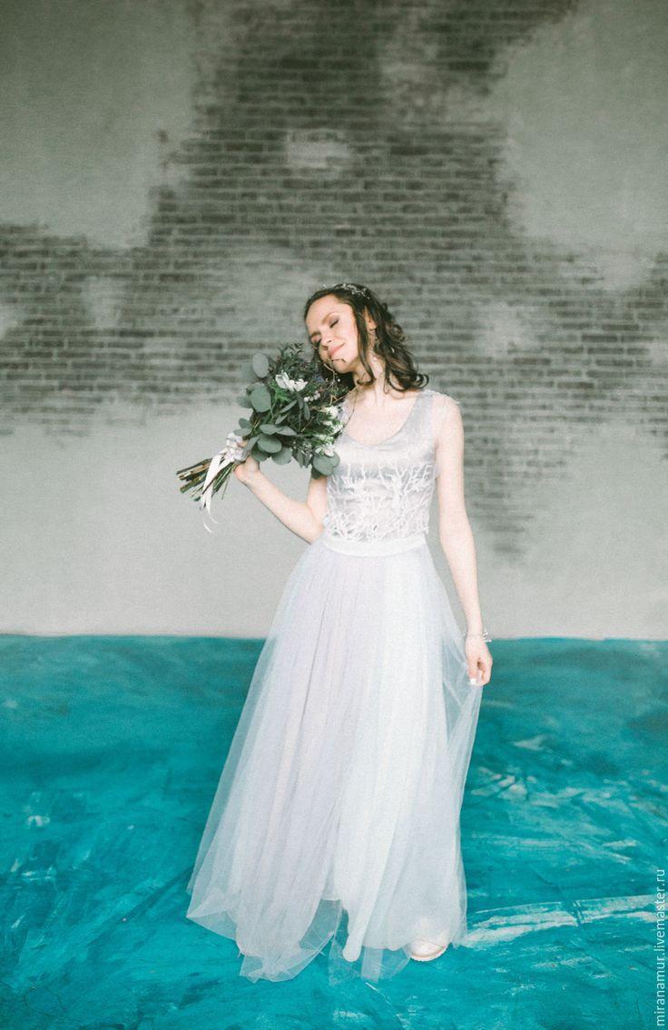 Купить Свадебное платье - тройка - комбинированный, шелк, шифон, фатин, серебро, для невесты, воздушное, легкое
