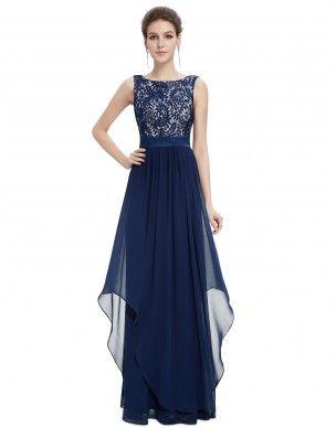-tmavě modré dlouhé společenské šaty Brenda L - Hollywood Style E-Shop