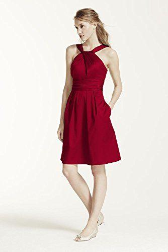 Short Cotton Bridesmaid Dress with Y-Neck and Skirt Pleating Style 83690,... David's Bridal http://www.amazon.com/dp/B00UEKCBJY/ref=cm_sw_r_pi_dp_KUAevb16N89W9