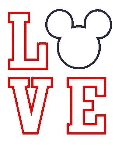 Love Mickey Applique Embroidery Design - Instant Download