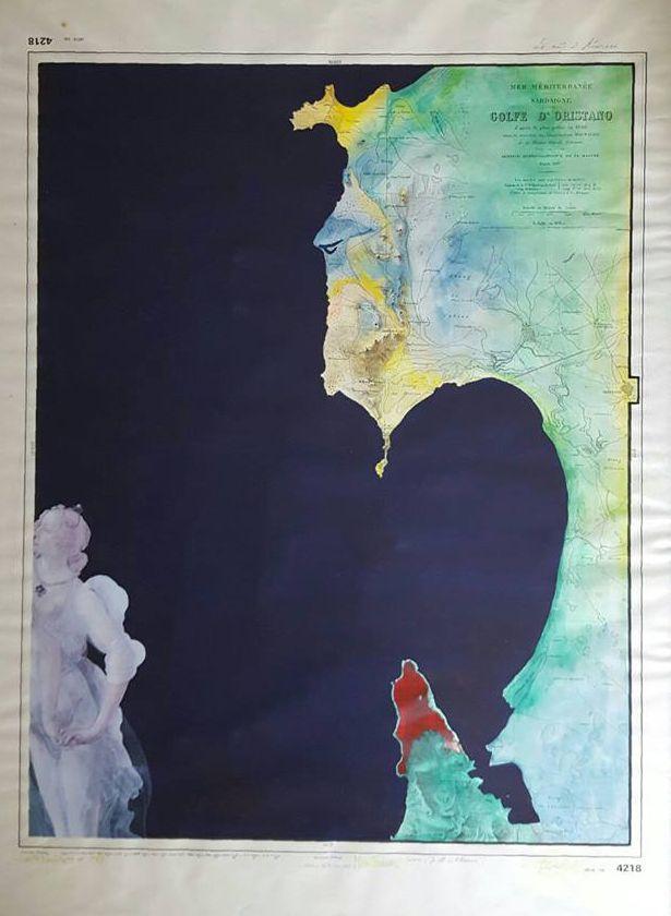 """Minotauro - 1989 Paolo Buzi, CARTE NAUTICHE (carta nautica del Golfo di Oristano, tempere, acrilico, collage con """"grazia"""" del Botticelli) #oristano #sardinia #cartenautiche #artecontemporanea"""