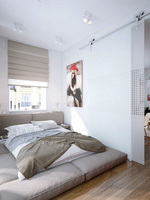 photo of small bedroom design and decorating idea - city chic