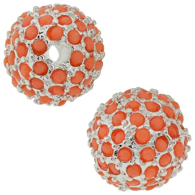 Beadelle Crystal Resort Collection 14mm Round Pave Bead - Plated / Coral