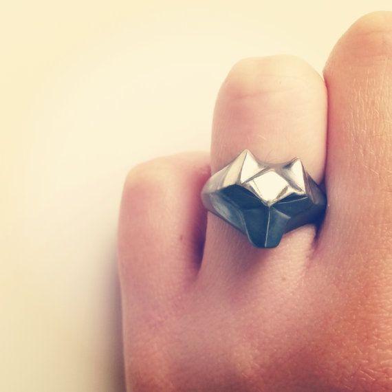Wolf ring geometrische Wolf Ring dierlijke van ElinaGleizer op Etsy