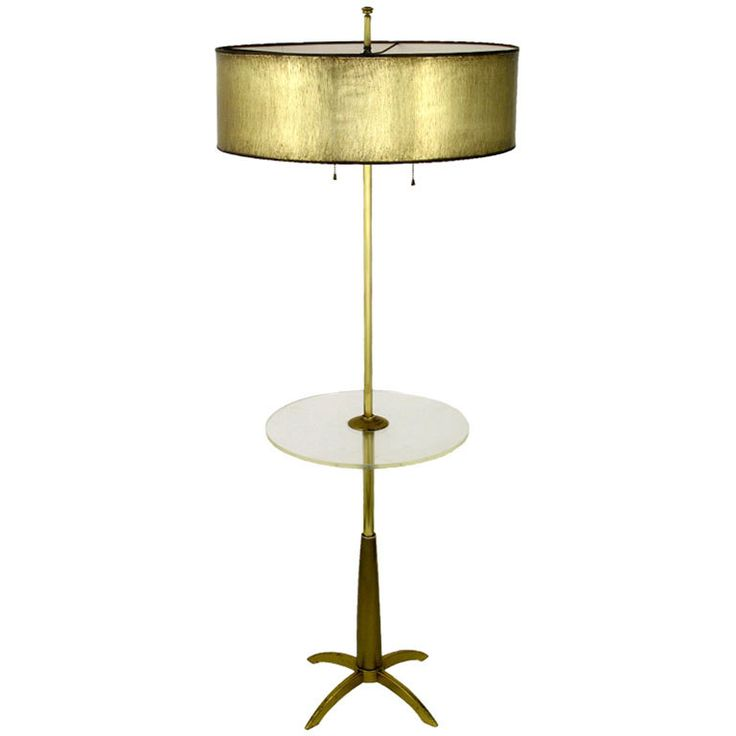 Stiffel brass floor lamp with round lucite table