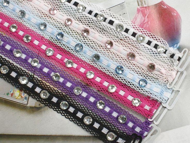 Wholesale Lot of Color Crystal Lace Trim Fashion Bra Straps Lingerie Accessories #Skyblue #BraStraps