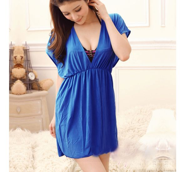 Blue Swimwear Beach Cover Up Dress