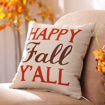 We're loving this Happy Fall Y'all Pillow! #kirklands #kirklandsharvest