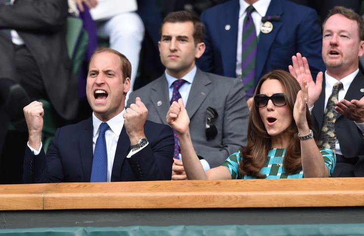 Prince William and Kate Middleton got animated while cheering at Wimbledon in July 2014.