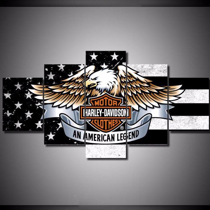 Harley Davidson American Eagle Flag Legend Canvas
