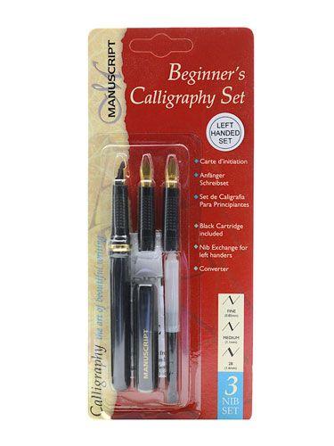 Leren kalligraferen linkshandig - kalligrafeer set met fine, medium en 2b penpunten.