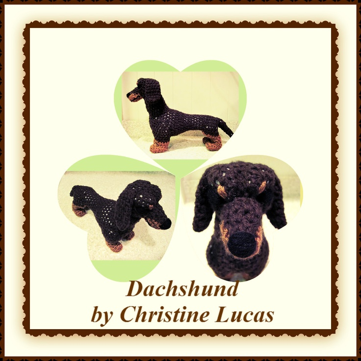 "Dachshund by Christine Lucas - This pattern is available for $2.50 USD. Finished Project Size: 11""L x 9""H x 4""W (length does not include tail)"