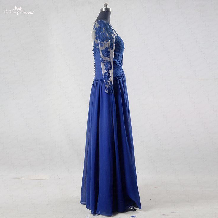 RSE739 Blue Graduation Dress Long Sleeve Prom Dresses. Click visit to buy #PromDress #Dress