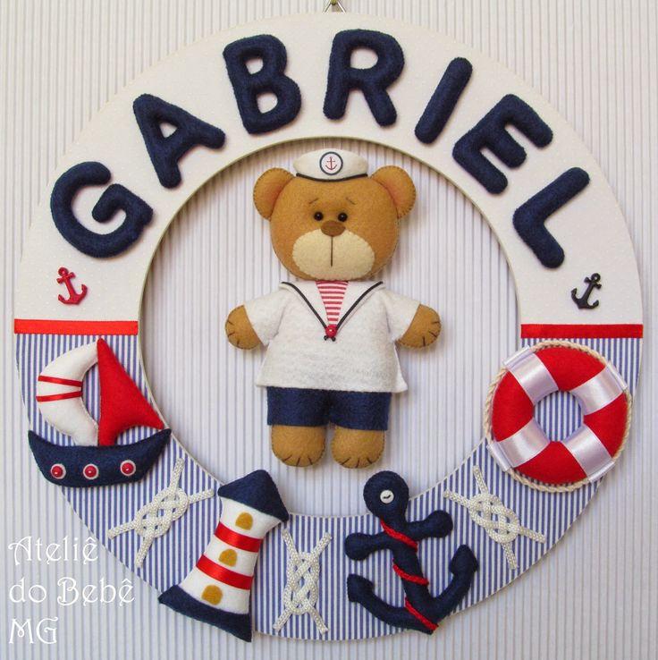 Ateliê do Bebê MG: Guirlanda Urso Marinheiro ( Gabriel )