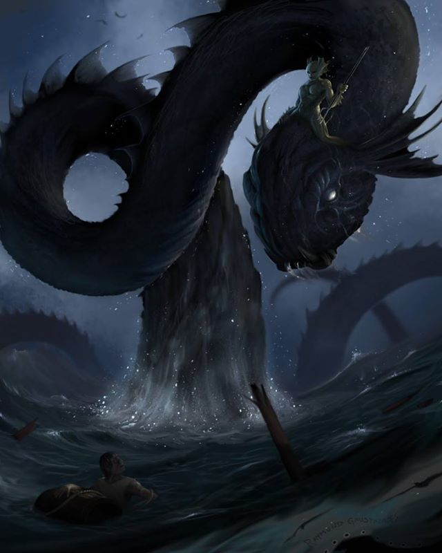 The Giant Seawyrm by Raymond E Gaustadnes | Giant Monster ...