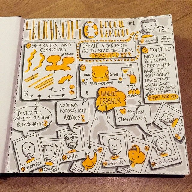 Sketchnotes from 1st International Sketchnotes Hangout about Separators and Connectors (drawn by Makayla Lewis)