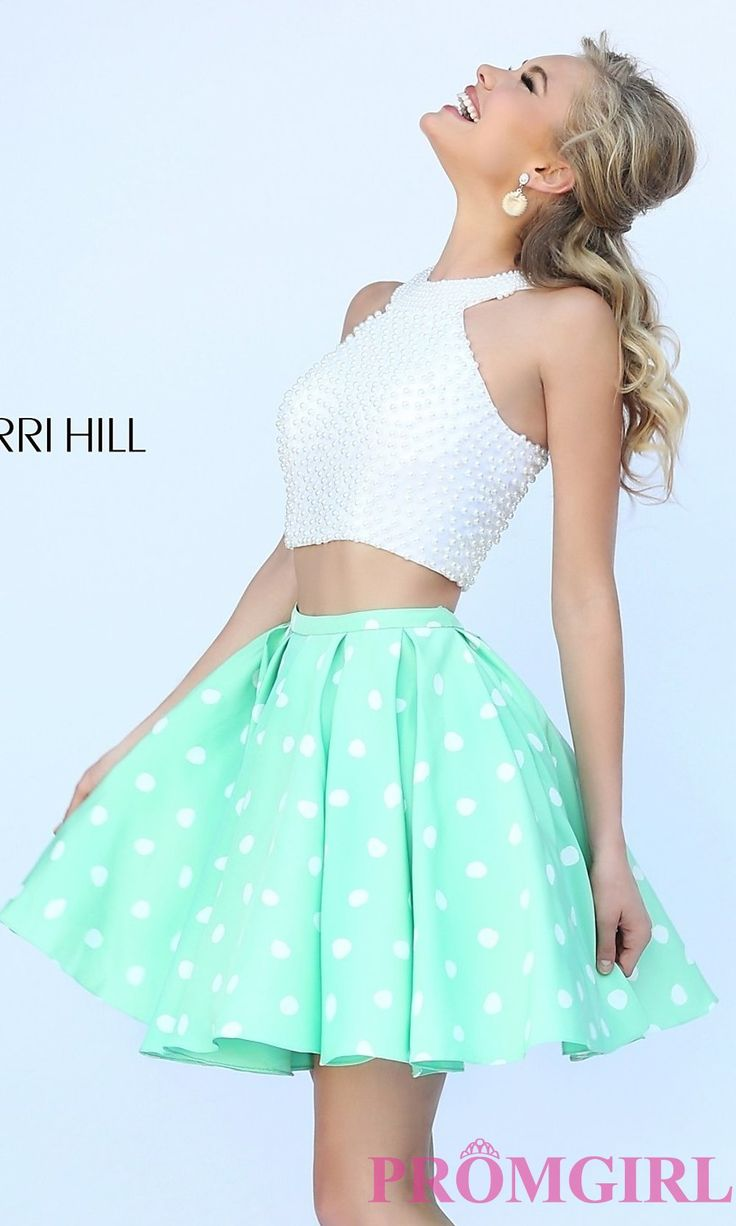 Prom Dresses, Celebrity Dresses, Evening Gowns - PromGirl: Short Two Piece Polka Dot Sherri Hill Dress
