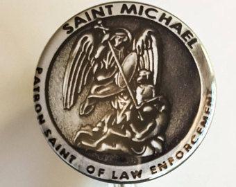 "1-1/2"" Saint Michael Patron Saint Angel of Law Enforcement Inspired ID Name Badge reel"