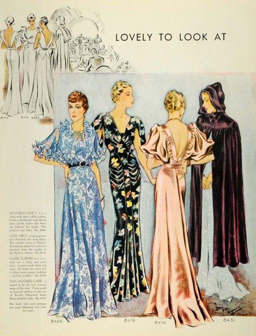 McCall's 1935: Hoods Capes, Evening Dresses, Fashion Dresses, Mccall 1935, Vintage Fashion, 1930S Fashion, Evening Gowns, Vintage Patterns, 1930S Dresses