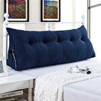 Vercart Sofa Bed Large Filled Triangular Wedge Cushion Bed Backrest Positioning Support Pillow Reading Pillow Office Lumbar Pad with Removable Cover Deep Blue