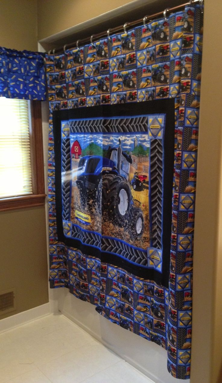 New Holland Tractor Shower Curtain Tractor Home Decor