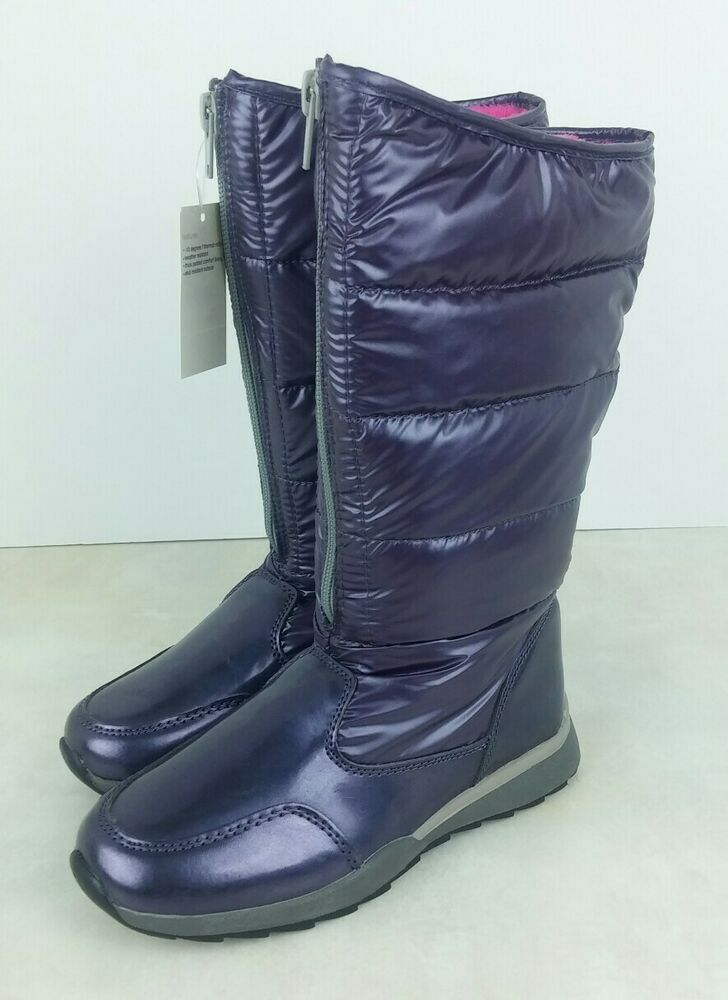 Purple Puffy Girls Kid Size 1 Boots Snow Faux Fur Lining
