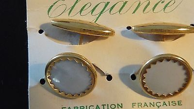BOUTONS-DE-MANCHETTE-NACRE-LUCITE-VINTAGE-1930-NEUF-OLD-NEW-CUFF-LINKS