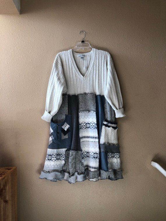8bec3522fba Upcycled Oversized Patchwor Winter Sweater Dress or Tunic ...