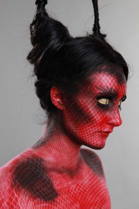 Devilish halloween makeup - love the concept and depth to this look x Now YOU Can Create Mind-Blowing Artistic Images With Top Secret Photography Tutorials With Step-By-Step Instructions! http://trick-photo-graphybook-today.blogspot.com?prod=WlankFlr