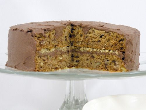 Banana Walnut Cake with Date Sweetened Chocolate Frosting | Amy Green