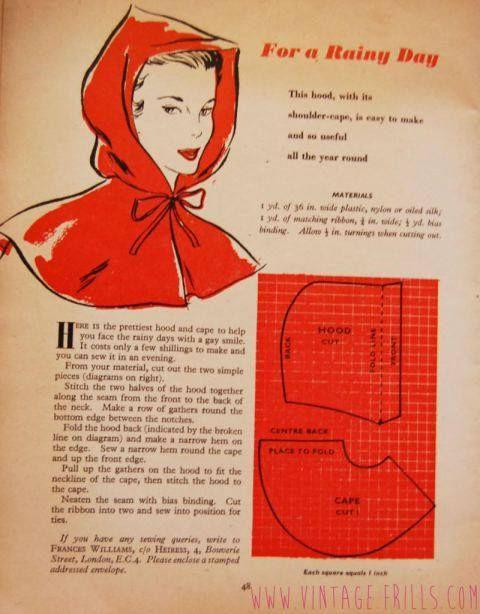 1950s rain hood & cape pattern