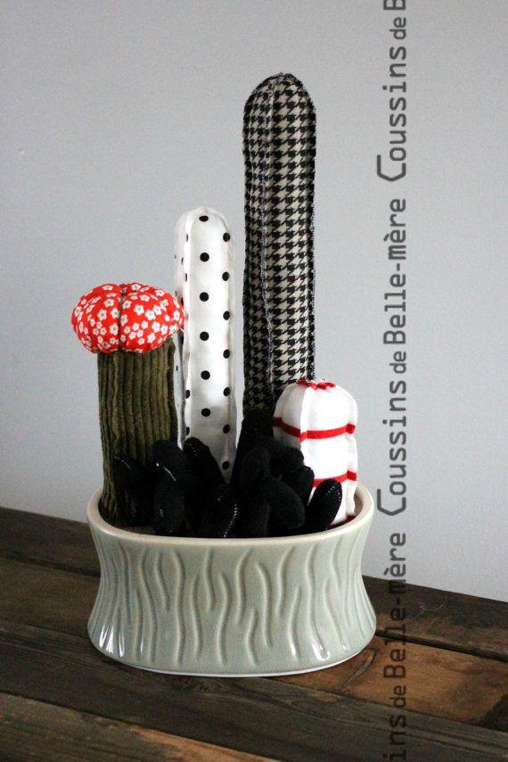Jardin de cactus tissus recyclés pot par coussinsdeBellemere