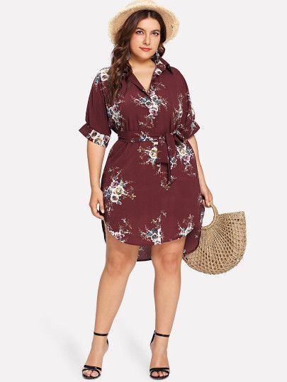 Plus Floral Belted Collar Dress Fashion And Style Pinterest