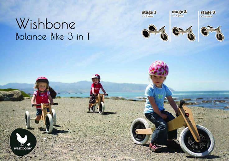 The Bike that grows with your Kid!! This wooden Wishbone Bike is the ideal 3-in-1 without pedals. This is in design and capabilities unique in its kind and grows with children and his or her development along. It's a 3 wheeler for your younger one and a balance bike for the elder.