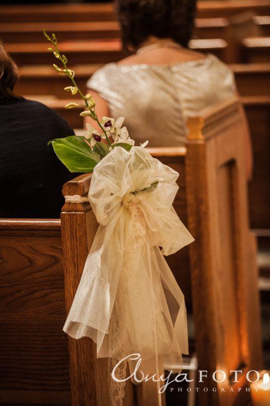 Wedding Ceremony Decor anyafoto.com #wedding, church wedding, indoor wedding, wedding ceremony decor ideas, flowers on pews, bows on pews