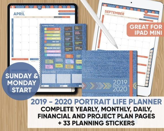 2019 2020 Digital Portrait Planner Sun And Mon Start Complete 2 Year Planner 33 Planning Stickers Not 365 Day Planning Stickers Yearly Planner Planner