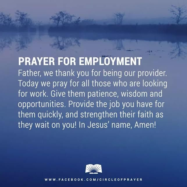 Rev Alex Shaw offers A Prayer for Employment for all that need work.