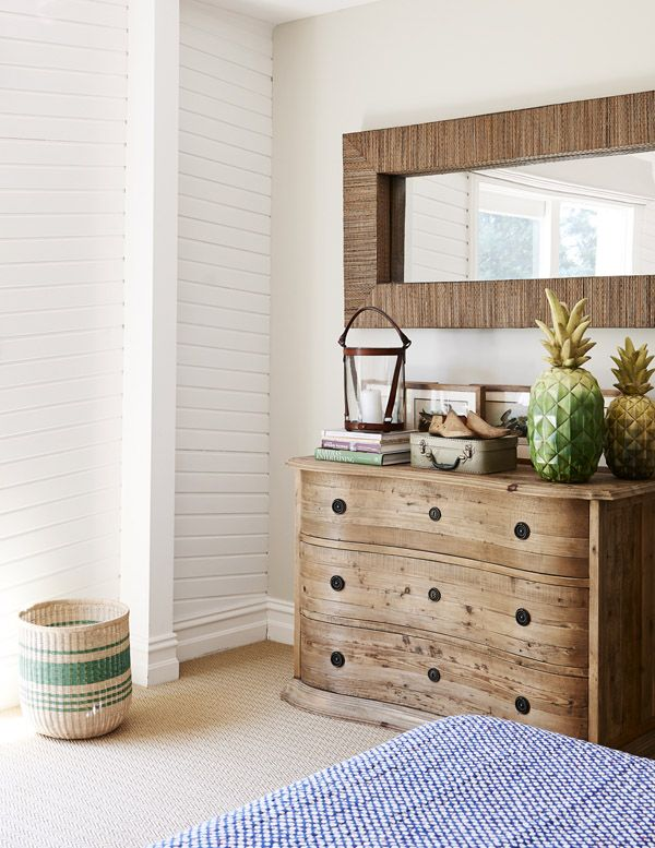 Master bedroom. Sally Campbell Quilt and Villa Maison Dresser. Large oversized Pineapples from Sasson Home, vintage mini suitcase found at...