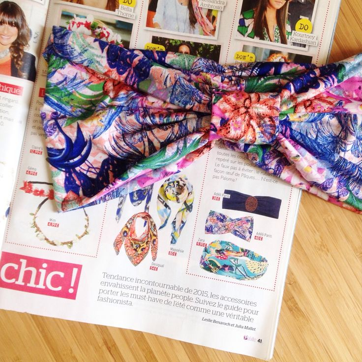 Tropical headband featured in french press -Public Magazine. Available at our @boxpark store