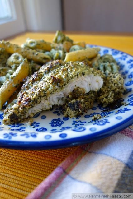 Baked Swai with Pesto and Ricotta Make 1 simple sauce and use it on fish, pasta and vegetables for a complete meal.