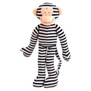 Alimrose – Monkey Rattle  Navy Stripe 30cm Funky monkey toy rattle in bright navy & white stripes. 30cm