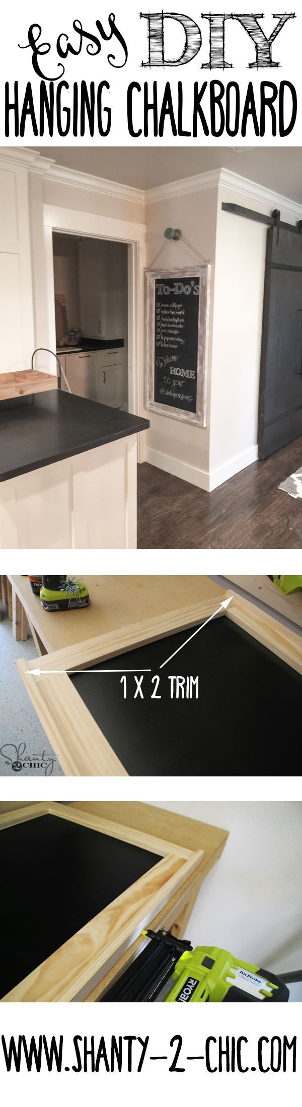 #woodworkingplans #woodworking #woodworkingprojects The perfect project for a beginning woodworker! Easy and inexpensive DIY Hanging Chalkboard! Get the free plans and step-by-step tutorial at www.shanty-2-chic...